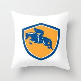 Equestrian Show Jumping Side Shield Retro Throw Pillow