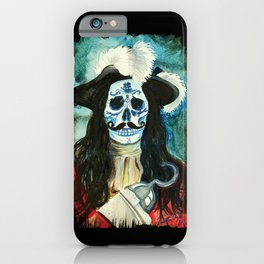 Day of the Dead Pirate Captain Hook Sugar School Portrait iPhone Case