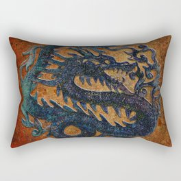 Blue Chinese Dragon on Stone Background Rectangular Pillow