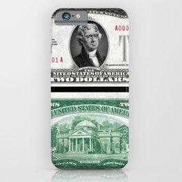 1928 Red Seal Jefferson Two Dollar Bill Bank Note iPhone Case