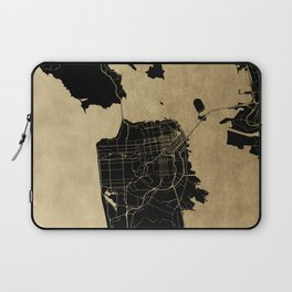 San Francisco California Black and Gold Map Laptop Sleeve