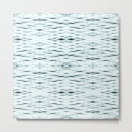 Cyan Zigzag Pattern Metal Print