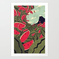 yetiland Art Prints featuring Watermelon surf dream by Yetiland