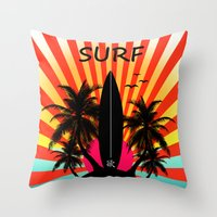 surf Throw Pillows featuring Surf by mark ashkenazi