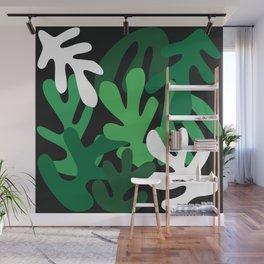 Green Leaves Cutouts Pattern Wall Mural