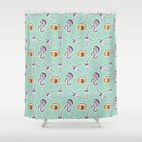 sticker Shower Curtains featuring sticker monster pattern 1 by freshinkstain