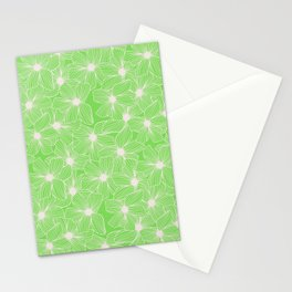 02 White Flowers on Green Stationery Cards