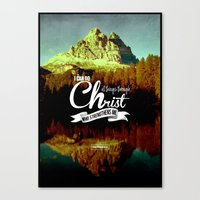 bible verses Canvas Prints featuring Typographic Motivational Bible Verses - Philippians 4:13 by The Wooden Tree