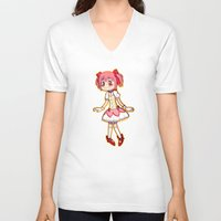 madoka V-neck T-shirts featuring Our Lord & Savior Madoka by TouchPadArt