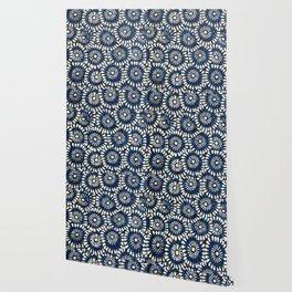 Blue and White Flower Pattern Wallpaper