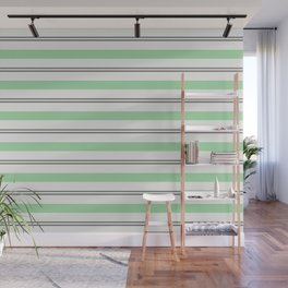 Pastel Green, Gray & Linen White Horizontal Stripes Pairs to 2020 Color of the Year Neo Mint Wall Mural