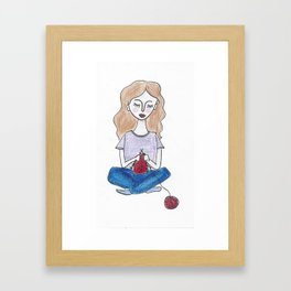 Knitting in color Framed Art Print