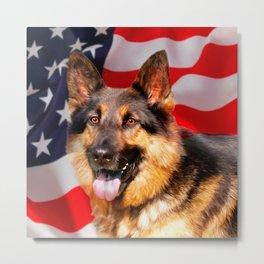 German shepherd Dog Patriot Red Blue White Metal Print