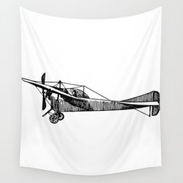 Old Airplane Sideview Detailed Illustration Wall Tapestry