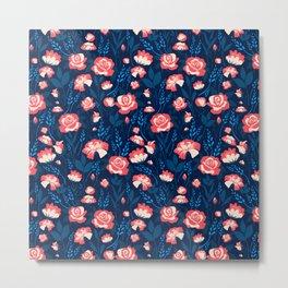 Blue Spring Floral Blossom Metal Print