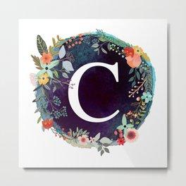 Personalized Monogram Initial Letter C Floral Wreath Artwork Metal Print