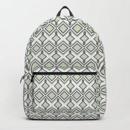 Urban Retro Geometric modern square shapes mid century pattern soft pastel green 02 Backpack