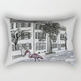 flamingo in the flooded streets of Charleston South Carolina Rectangular Pillow