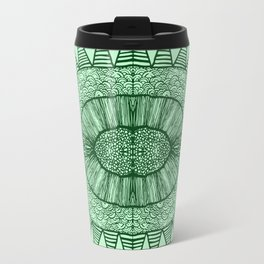 Grassy Green Tangled Mania Pattern Doodle Design Travel Mug