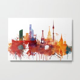Moscow Watercolor Skyline Metal Print
