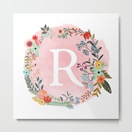 Flower Wreath with Personalized Monogram Initial Letter R on Pink Watercolor Paper Texture Artwork Metal Print
