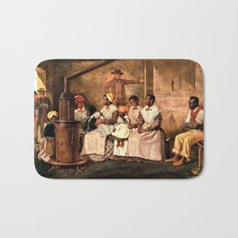 """Classical Masterpiece: Eyre Crowe's """"Slaves Waiting for Sale"""" (1861) Bath Mat"""