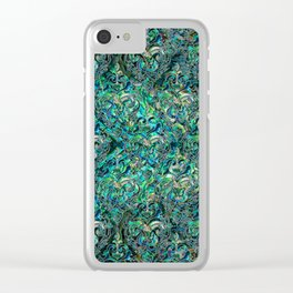 Persian Oriental pattern abalone and silver Clear iPhone Case