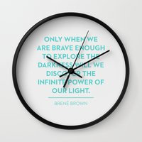 brave Wall Clocks featuring Brave by Heart of Hearts Designs