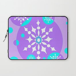 A Lavender and Aqua Snowflake Design Laptop Sleeve
