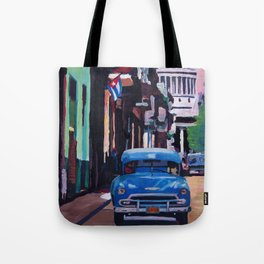 Cuban Oldtimer Street Scene in Havanna Cuba with Buena Vista Feeling Tote Bag