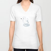 poodle V-neck T-shirts featuring Poodle by Paul Turcanu