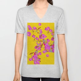 Pink Morning Glories on Gold Art Design Unisex V-Neck