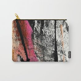 Motivation [2] : a colorful, vibrant abstract piece in pink red, gold, black and white Carry-All Pouch