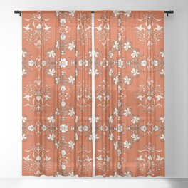 Vintage Floral - Rust Orange Sheer Curtain