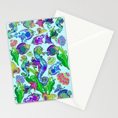 Marine Life Exotic Fishes & SeaHorses Ornamental Style Stationery Cards