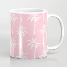 Palm trees pink tropical minimal ocean seaside socal beach life pattern print Mug