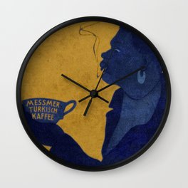 Vintage Blue and Yellow Turkish Coffee Woman with Cigarette Wall Clock