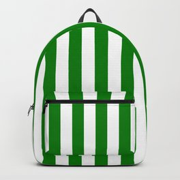 Narrow Vertical Stripes - White and Green Backpack