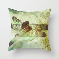 dragonfly Throw Pillows featuring Dragonfly by SpaceFrogDesigns