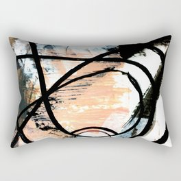 It comes and goes - a black and white abstract mixed media piece with pink details Rectangular Pillow