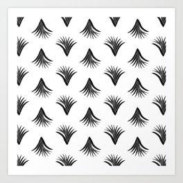 Pandanus Leaf Pattern - Black Art Print