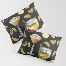 Cocktail and Biscuit Pattern Black Background Pillow Sham