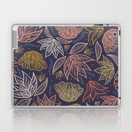 Bohemian Florals in Blue + Coral Laptop & iPad Skin