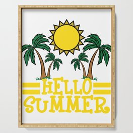 """""""Hello Summer"""" tee design. Makes a nice and cool gift this summer to your loved ones!  Serving Tray"""