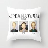 supernatural Throw Pillows featuring SUPERNATURAL by Space Bat designs