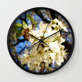 bees on flower Wall Clock