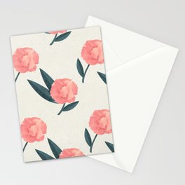 Seamless Beautiful Pink Red Peony Flower Pattern Stationery Cards