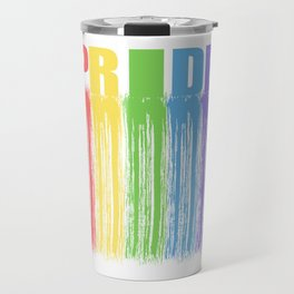 "Colorful Rainbow Flag Gay Pride T-shirt Design ""PRIDE"" Rainbow Flag Animals Animal Pet Colors Travel Mug"