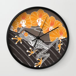 Tree Frog with Orchids in Earthtones Wall Clock