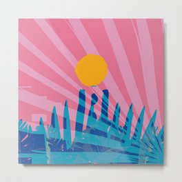 Yellow sun in the pink sky of the French Riviera Metal Print